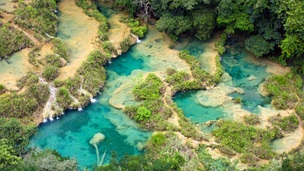 pools of semuc champey guatemala from above