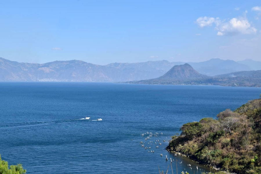 view of lake atitlan from above, an amazing view during a 2 weeks in guatemala itinerary