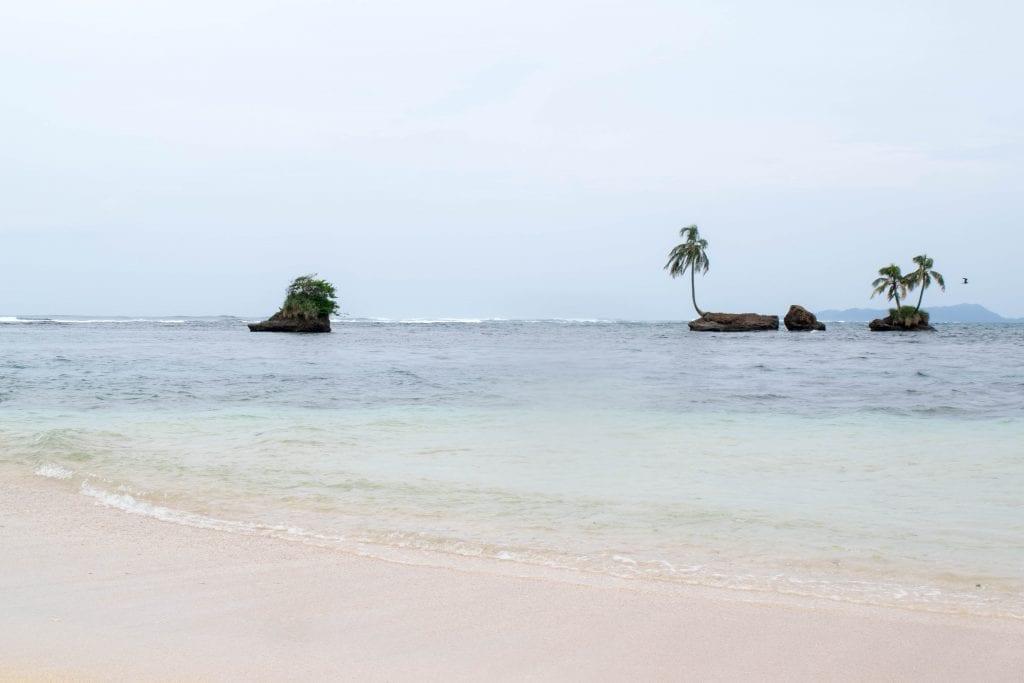 cloudy beach on an island close to bocas del toro