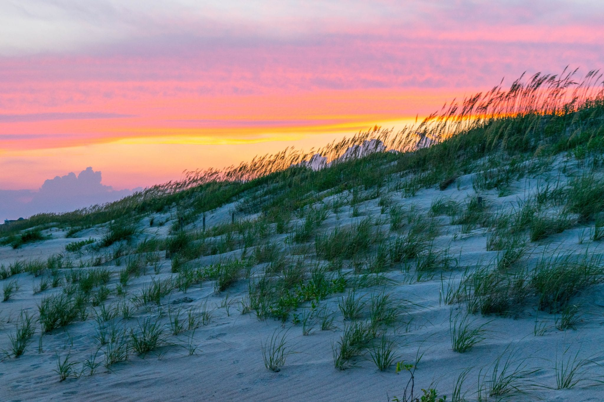 Sunset behind the sand dunes at Fort Macon State Park NC