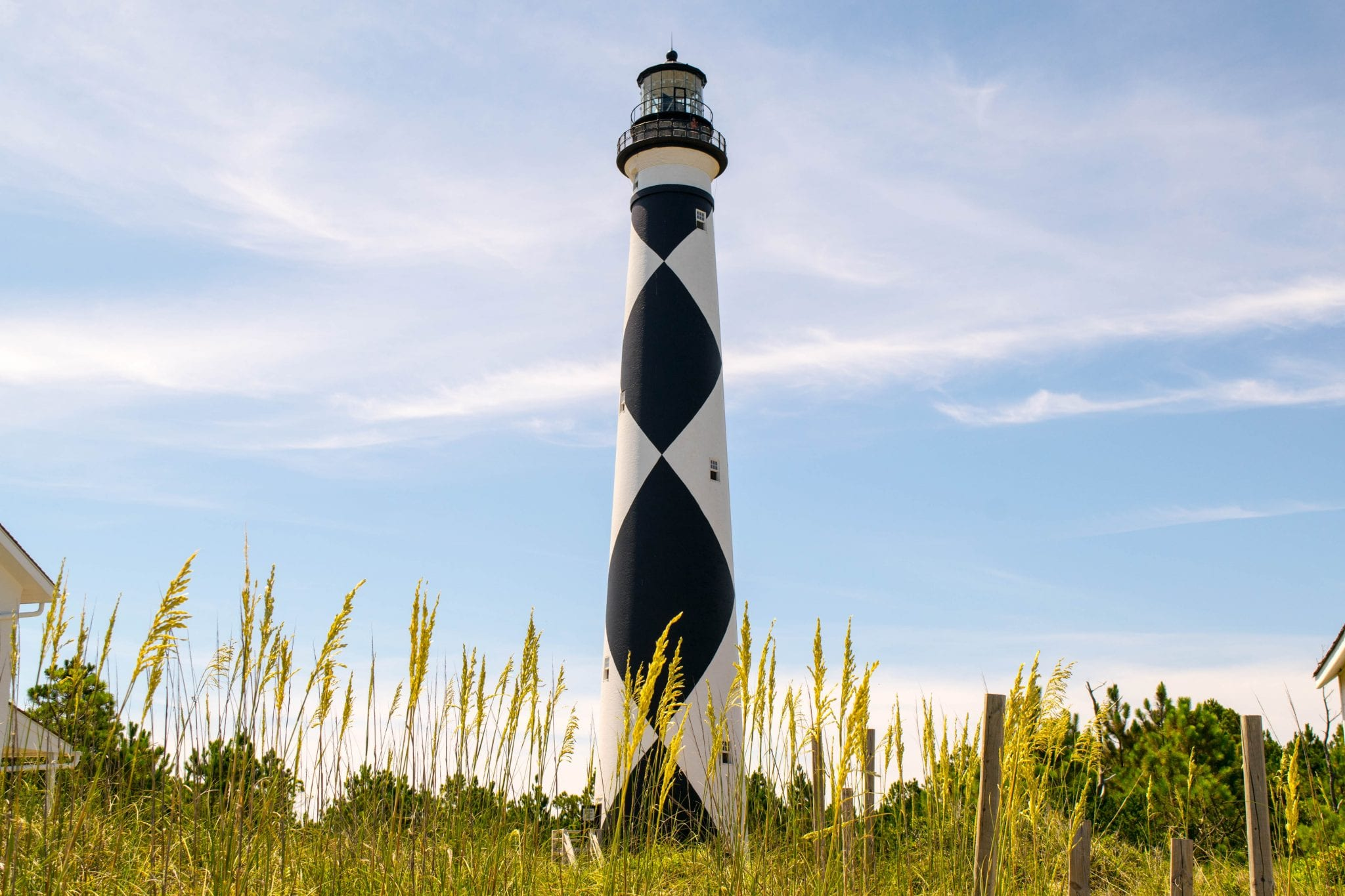 Cape Lookout lighthouse in North Carolina on a sunny day