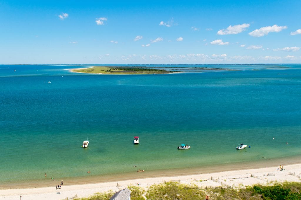 Boats near Cape Lookout seen from above--the coast of north carolina is one of the best honeymoon destinations in usa