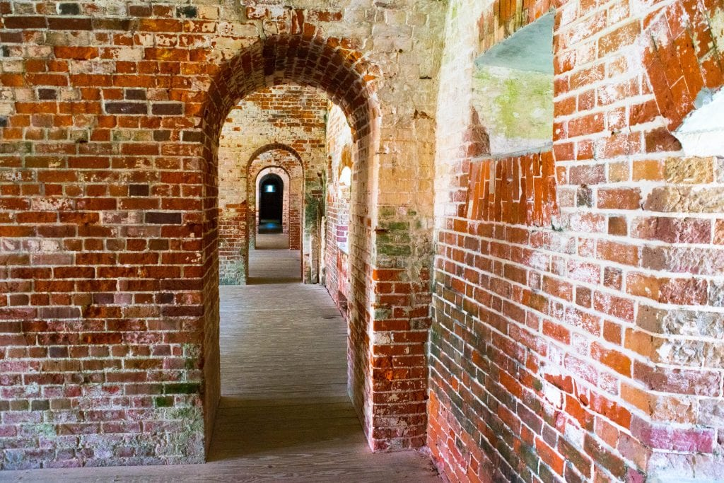 Brick walls of the interior of Fort Macon State Park NC
