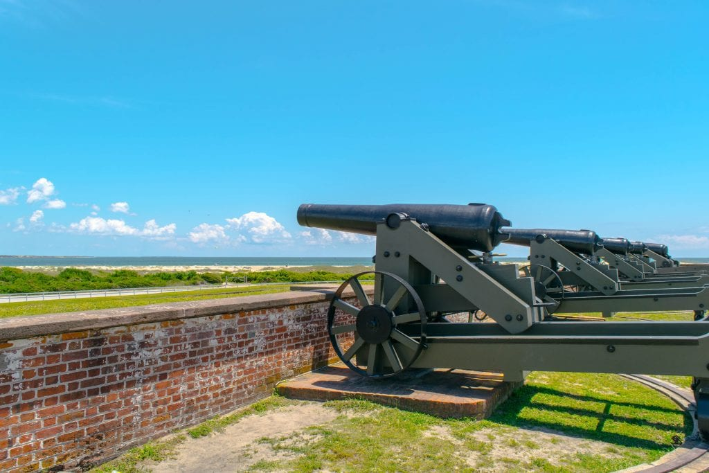 What to Do in Beaufort NC: photo of cannons at Fort Macon in Atlantic Beach