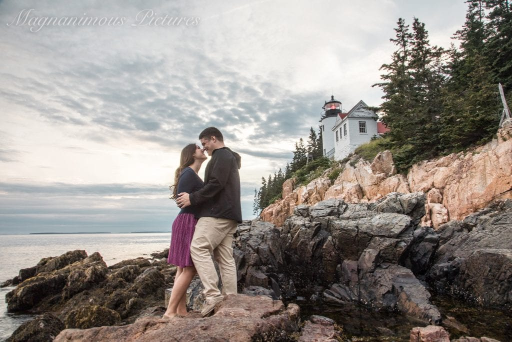kate storm and jeremy storm in acadia national park at bar harbor head light