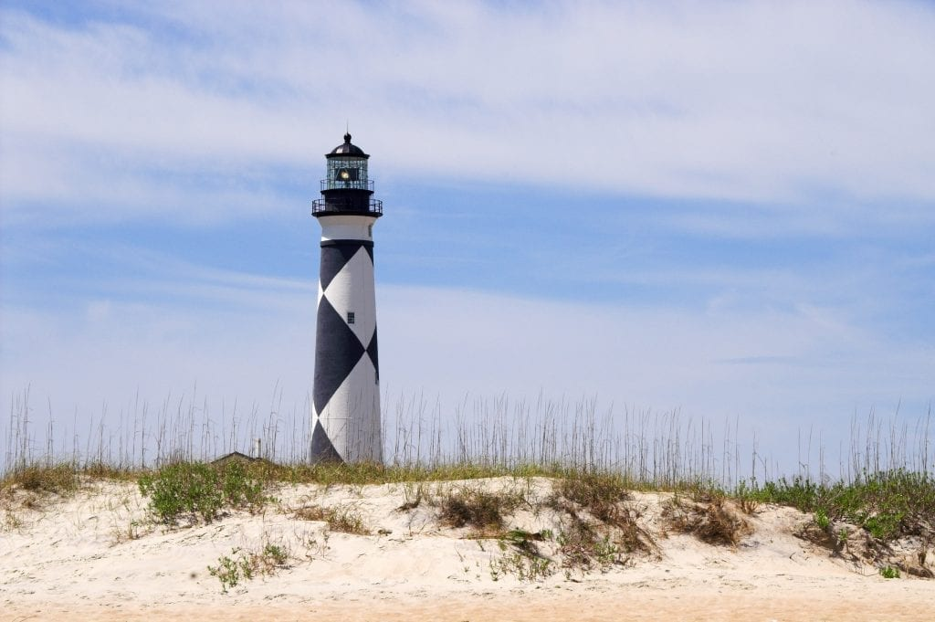 Cape Lookout Lighthouse NC as seen from behind sand dunes