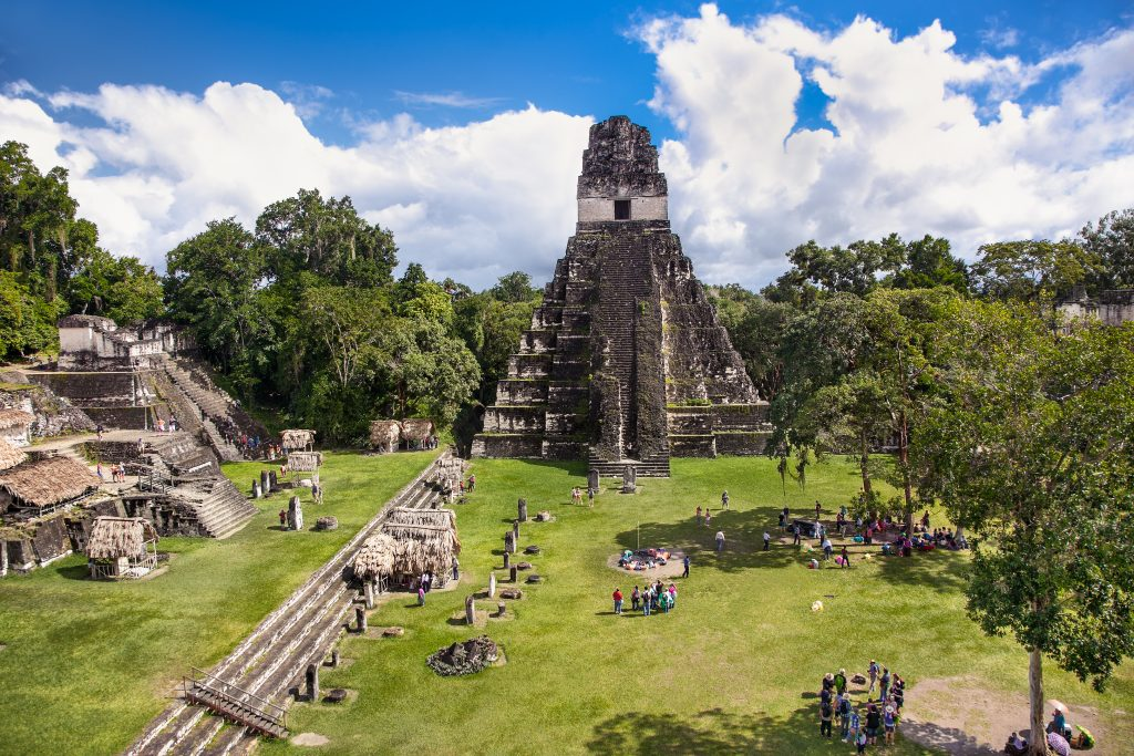 view of the gran plaza of tikal guatemala, an essential part of a 2 week guatemala itinerary