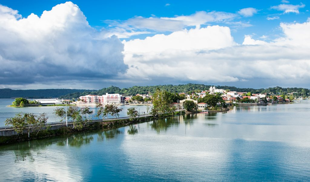 view of bridge leading to flores island guatemala