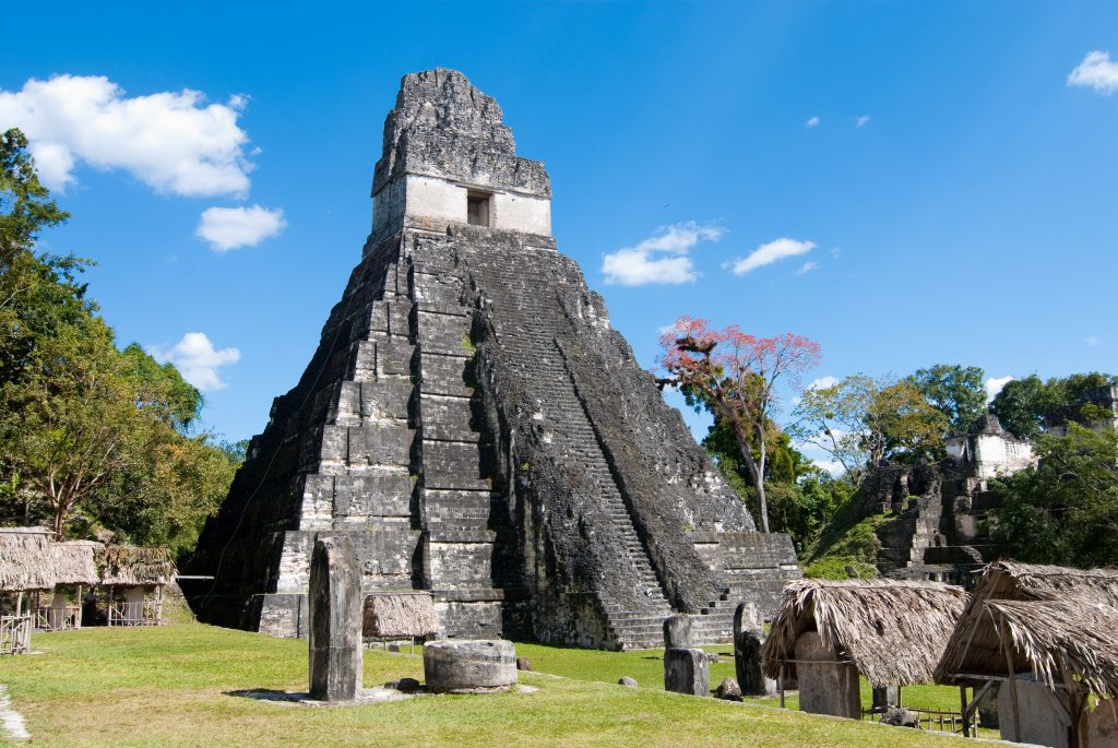 main pyramid of tikal guatemala as seen from the side, an unforgettable sight on an itinerary guatemala