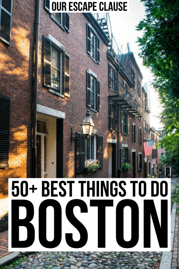 "Acorn Street in Boston MA, black text on a white background reads ""50+ best things to do in Boston MA"""
