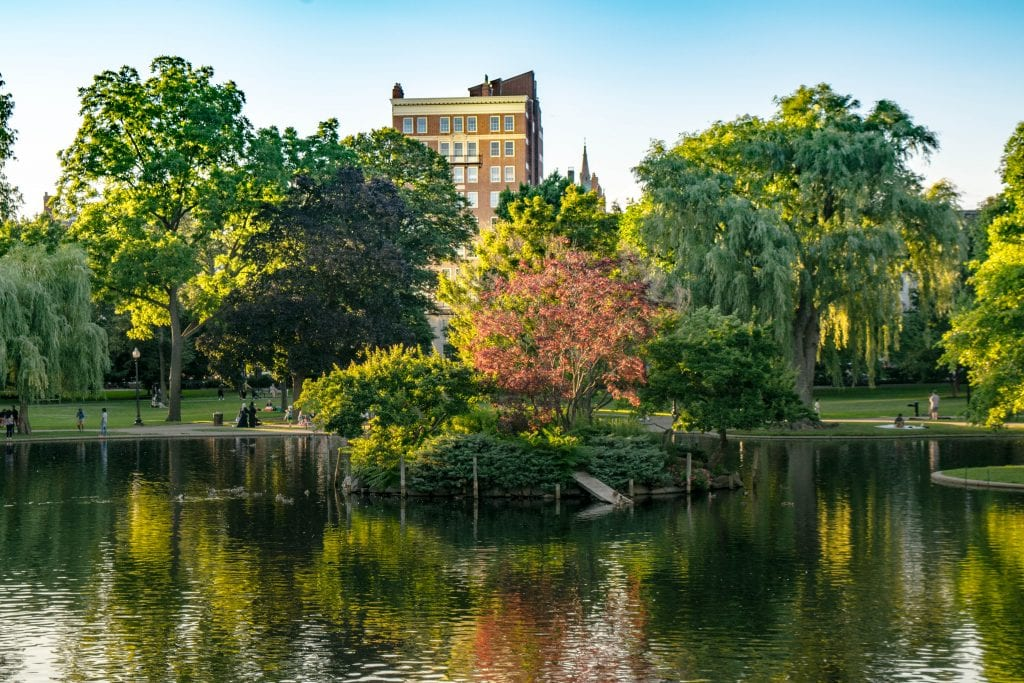 Duck Pond in Boston Public Garden, one of the best places to visit in Boston