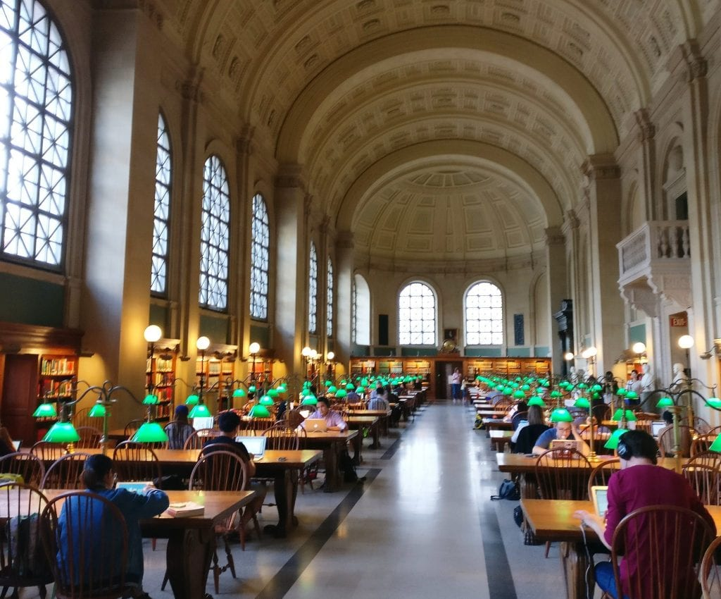 Reading Room at Boston Public Library--don't miss this when deciding what to do in Boston MA