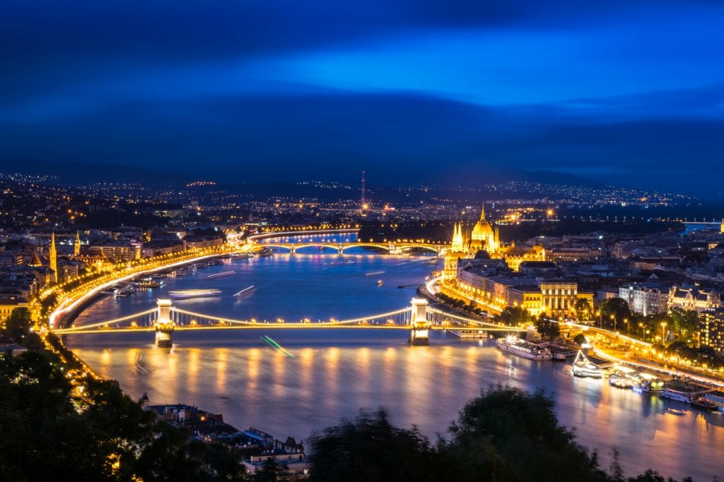 Budapest view of Danube during blue hour--hard to decide between visiting prague or budapest with views like this