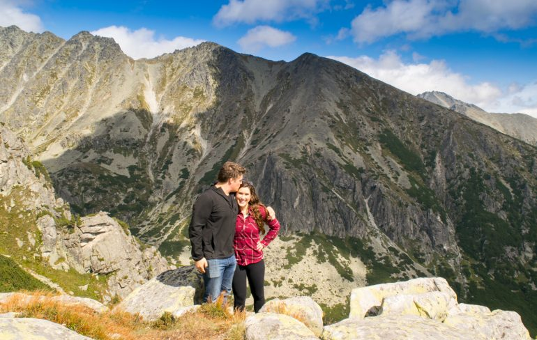 Hiking in the High Tatras: Couple at Viewpoint