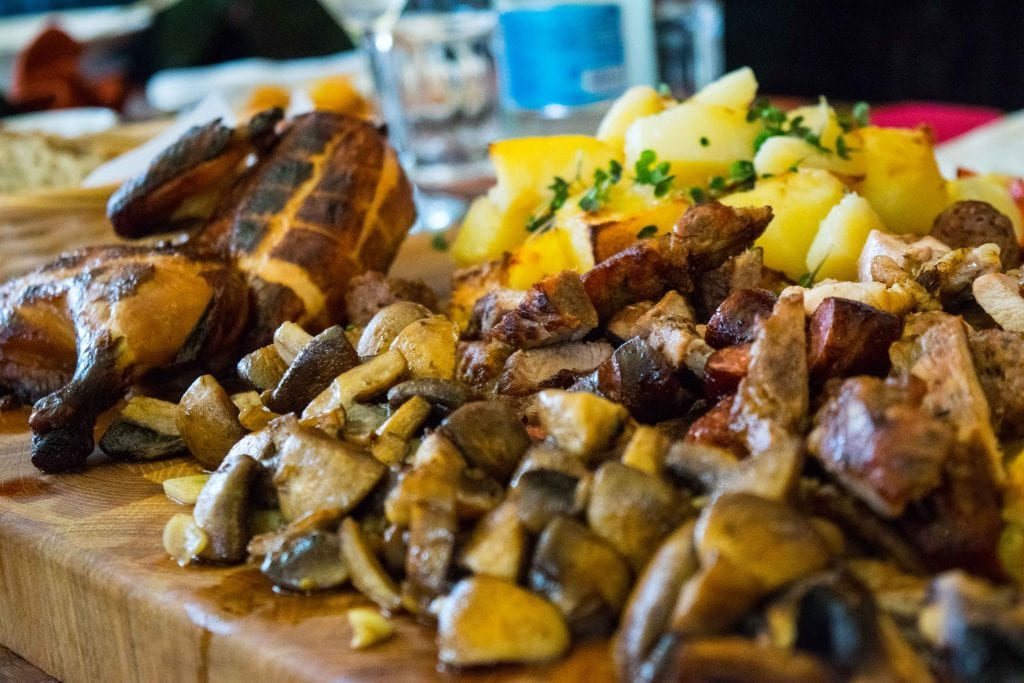 plate of meat and potatoes in a restaurant in bucharest romania