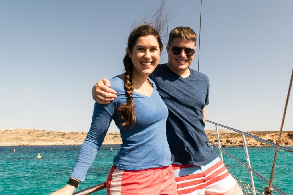 kate storm and jeremy storm on a boat in malta