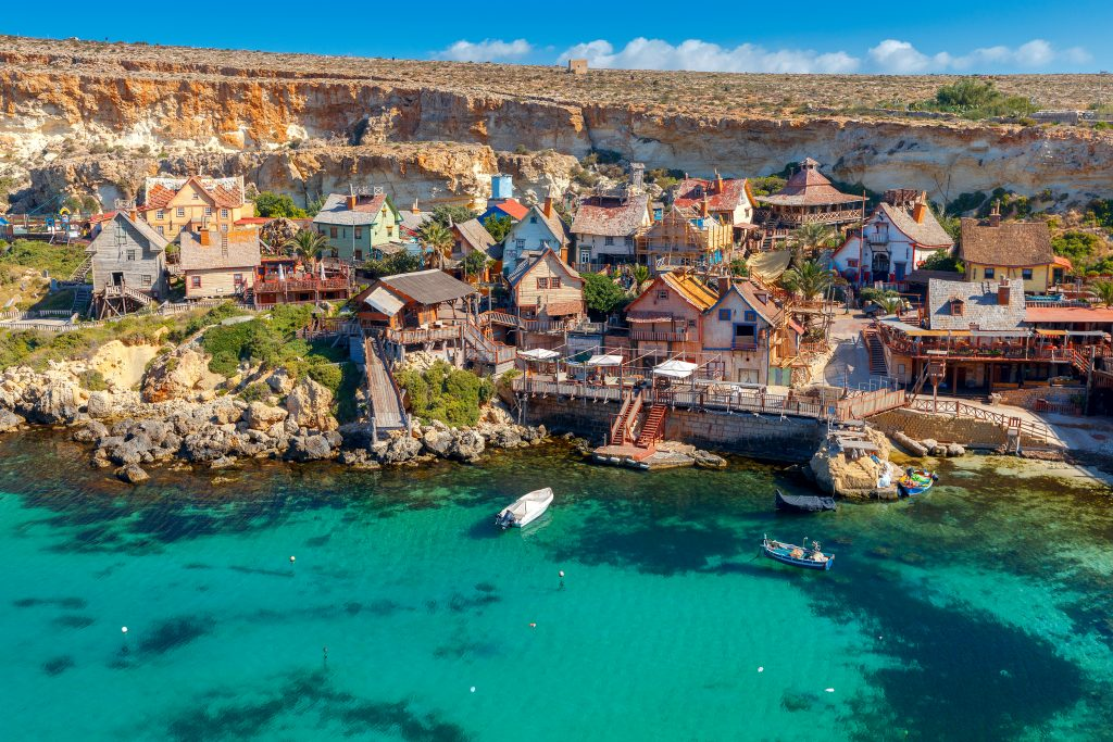 view of malta popeye village from above