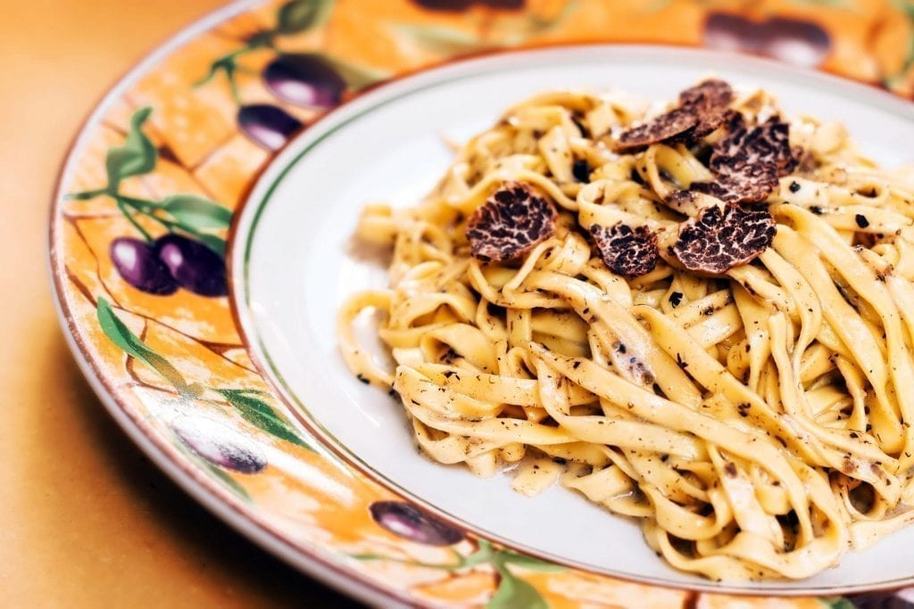 Truffle pasta shot from above, a must-try food in Florence Italy