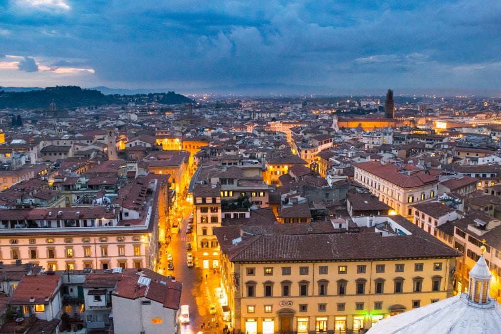 View of Florence's skyline during blue hour, as included in a blog post about what to do in Florence at night.