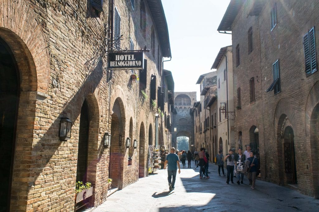 Street of San Gimignano in Tuscany, one of the best day trips from Florence Italy