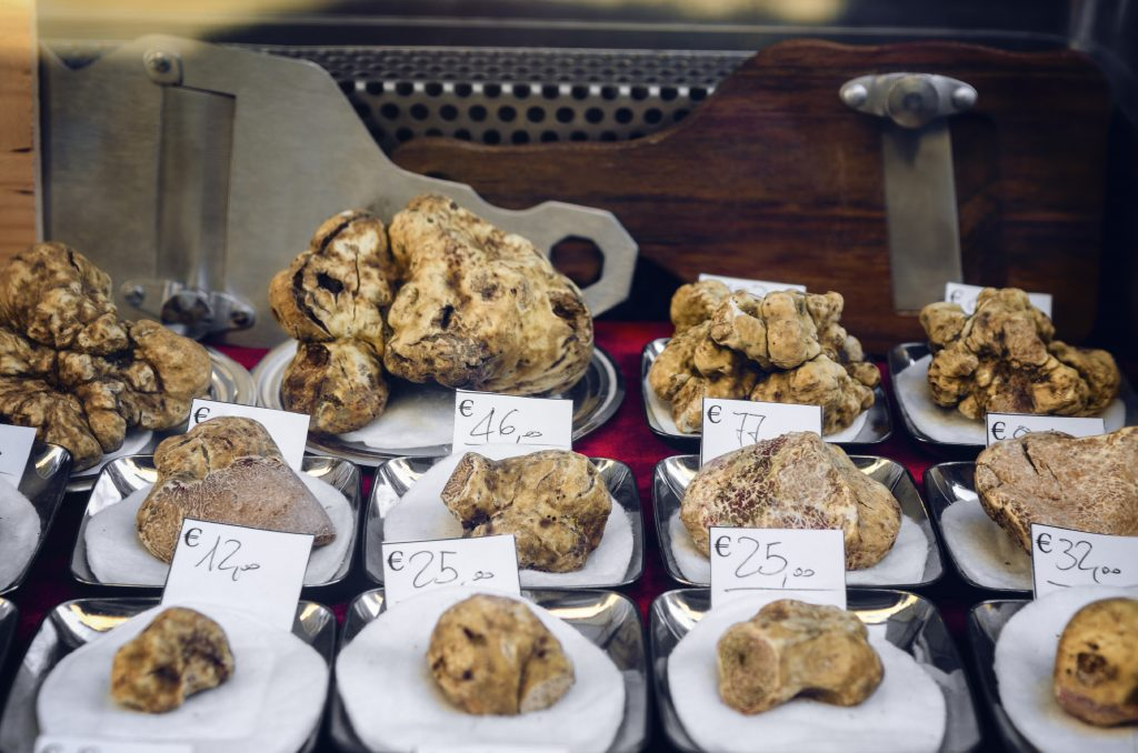 truffles for sale at a market in italy