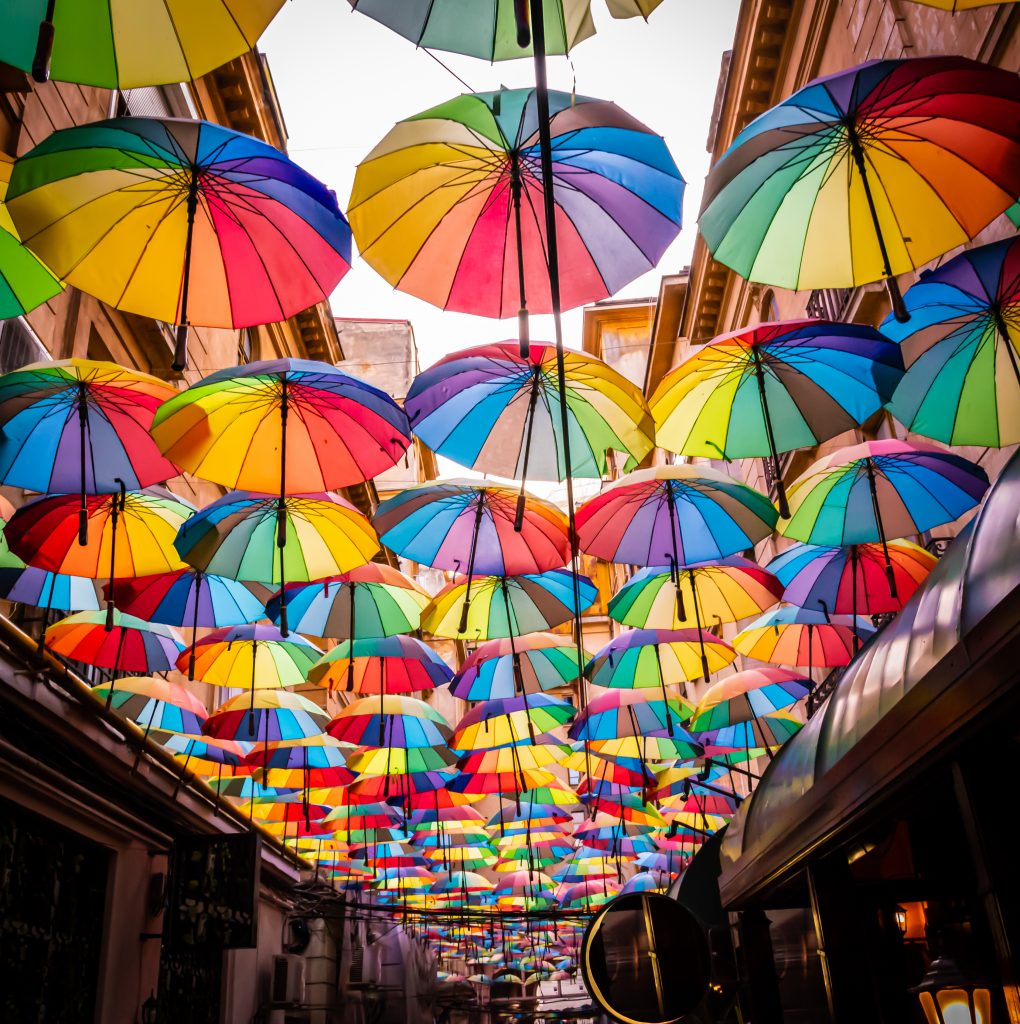 view of colorful umbrella ceiling display in bucharest romania
