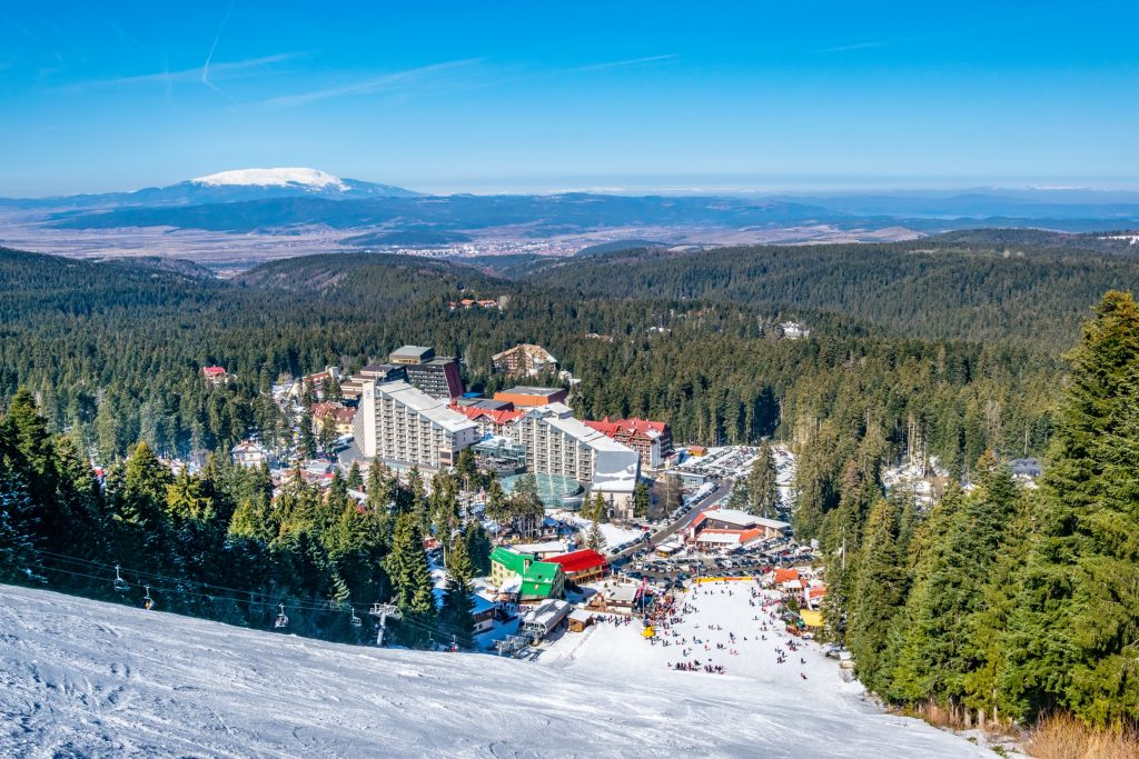 borovets bulgaria as seen from the top of a ski slope, one of the best cheap places in europe to visit