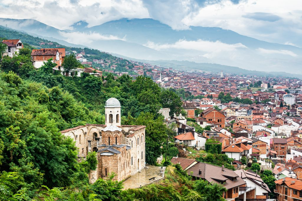 view of prizren kosovo from above with church of holy savior in the foreground