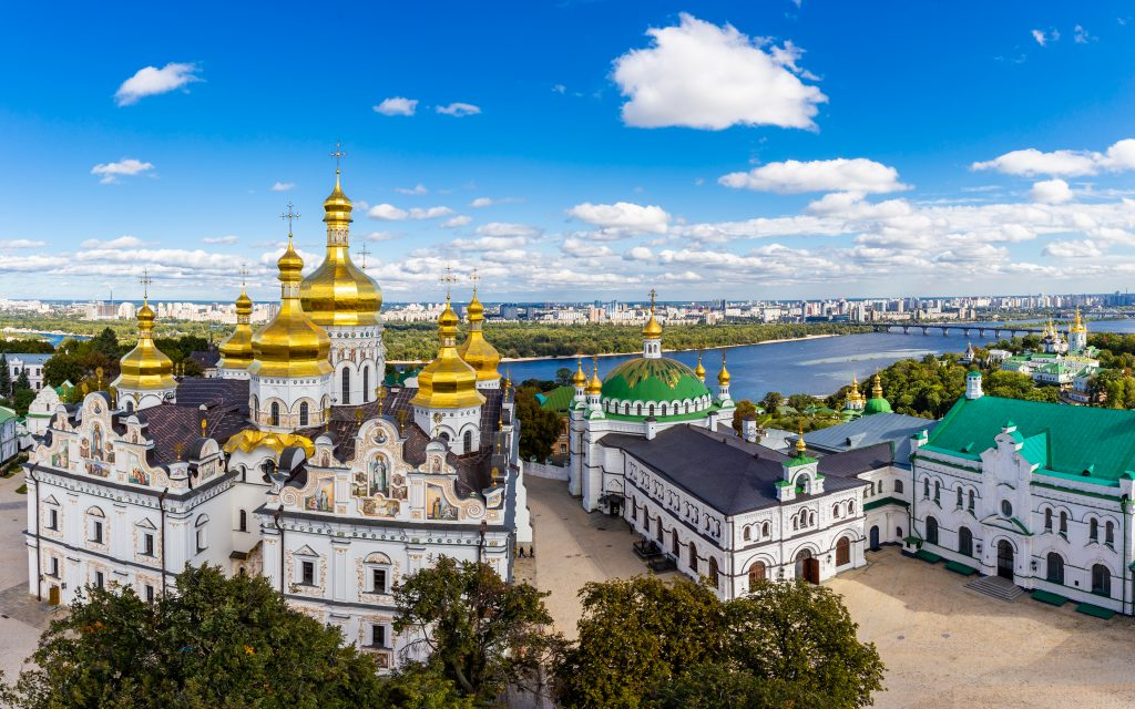 beautiful orthodox churches in kyiv ukraine as seen from above along the river