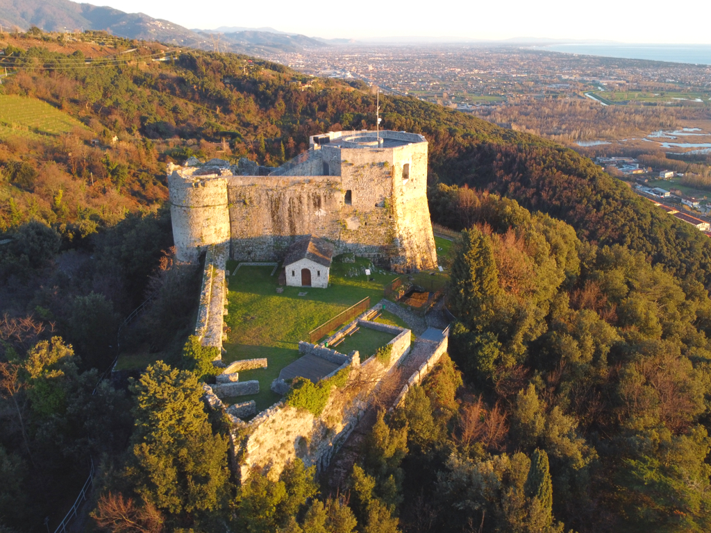 aerial view of Aghinolfi Castle in Montignoso in tuscany italy