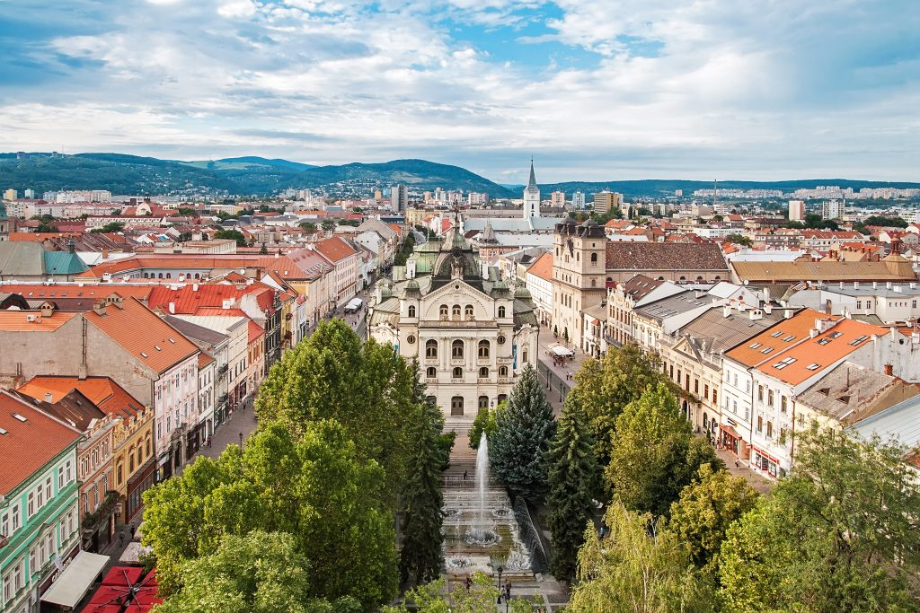view of kosice slovakia from above, one of the cheapest cities to visit in europe