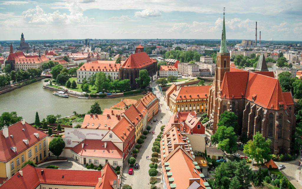 wroclaw poland as seen from above, one of the cheapest places to visit in europe