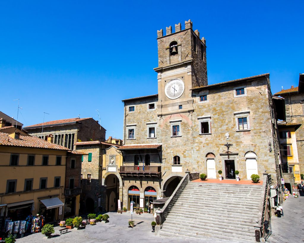medieval town hall of cortona italy, one of the best small towns in tuscany