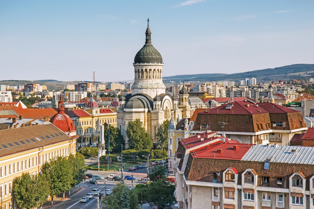 cityscape of cluj-napoca in romania with cathedral prominent