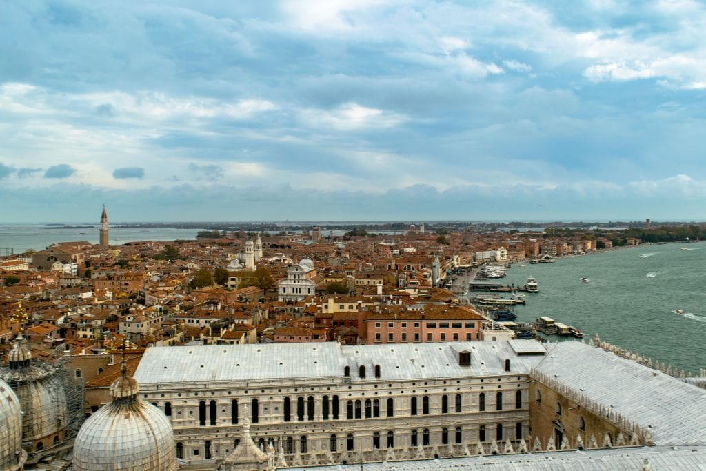 View of Venice from St. Mark's Campanile--if you want to see Venice in a day, consider climbing this tower!