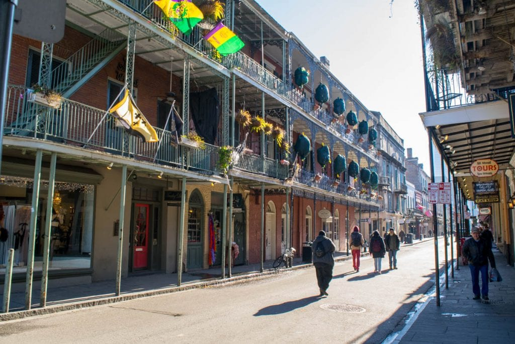 3 Days in New Orleans Itinerary: French Quarter Mardi Gras Flags