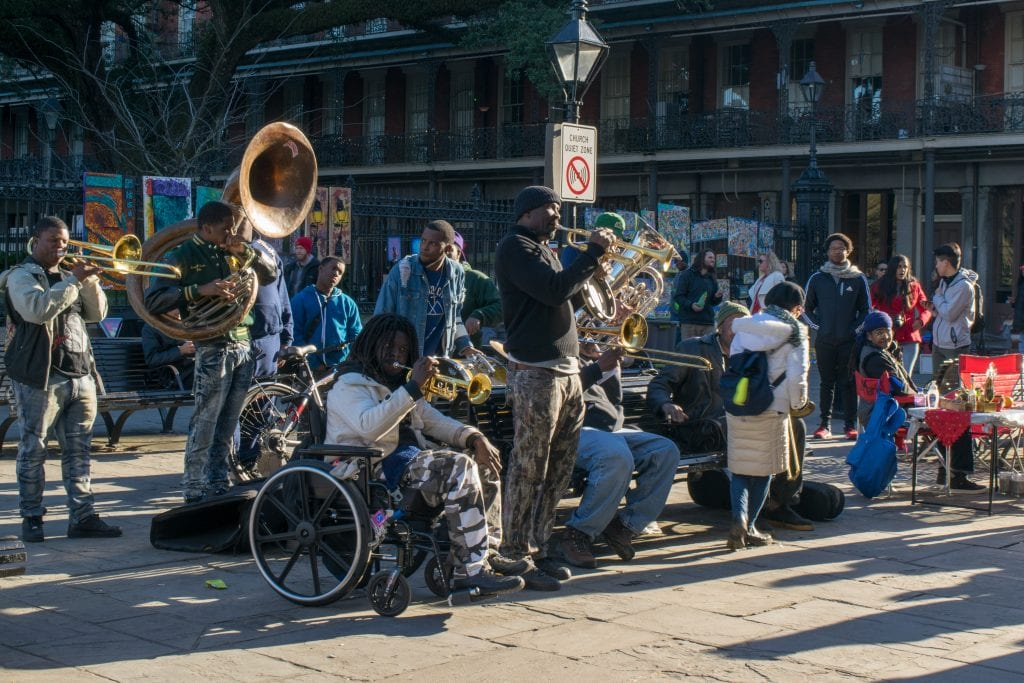 Street band playing live jazz in New Orleans--any 3 days in New Orleans should include plenty of performances like this!
