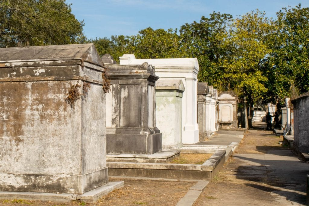 Lafayette Cemetery No. 1 row of graves as seen during a long weekend in NOLA