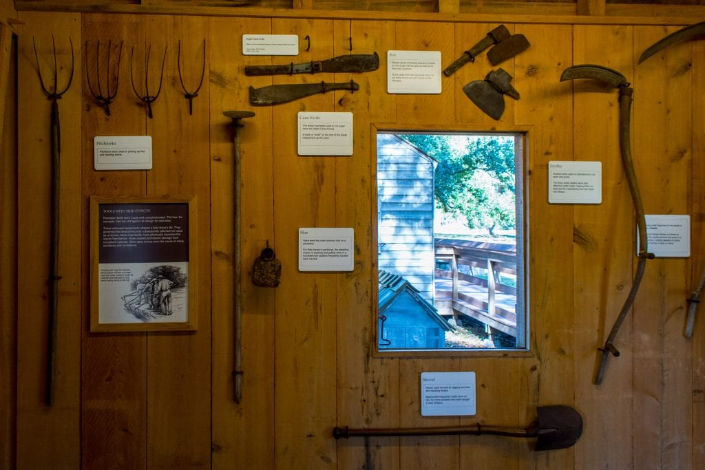 Tools used by slaves displayed in Oak Alley Museum.