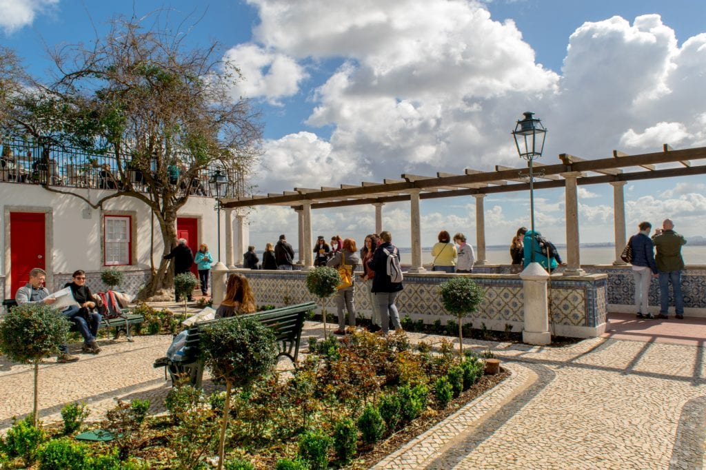 Miradouro de Santa Luzia on a sunny day, one of the best things to see with one day in Lisbon Portugal