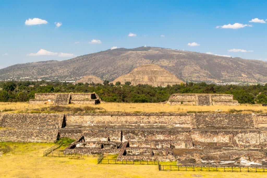layered view of the pyramids of teotihuacan mexico