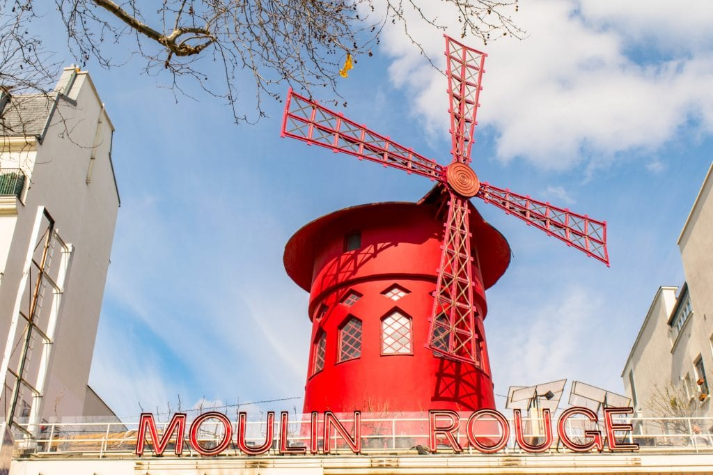 Red windmill of the Moulin Rouge, one of the most popular photography spots in Paris