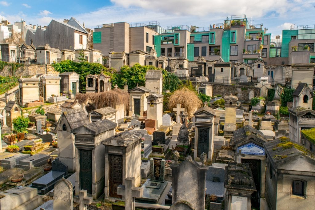 Montmartre Cemetery, one of the hidden gems in Paris, shot from above