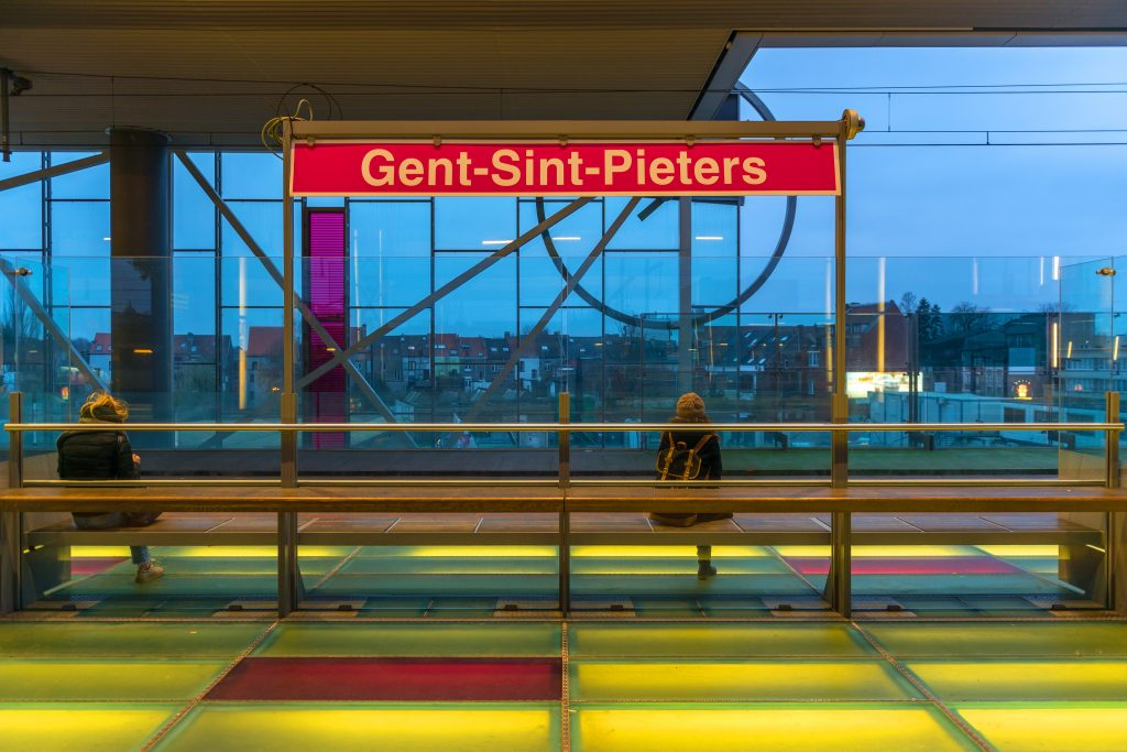 platform in ghent belgium train station at night