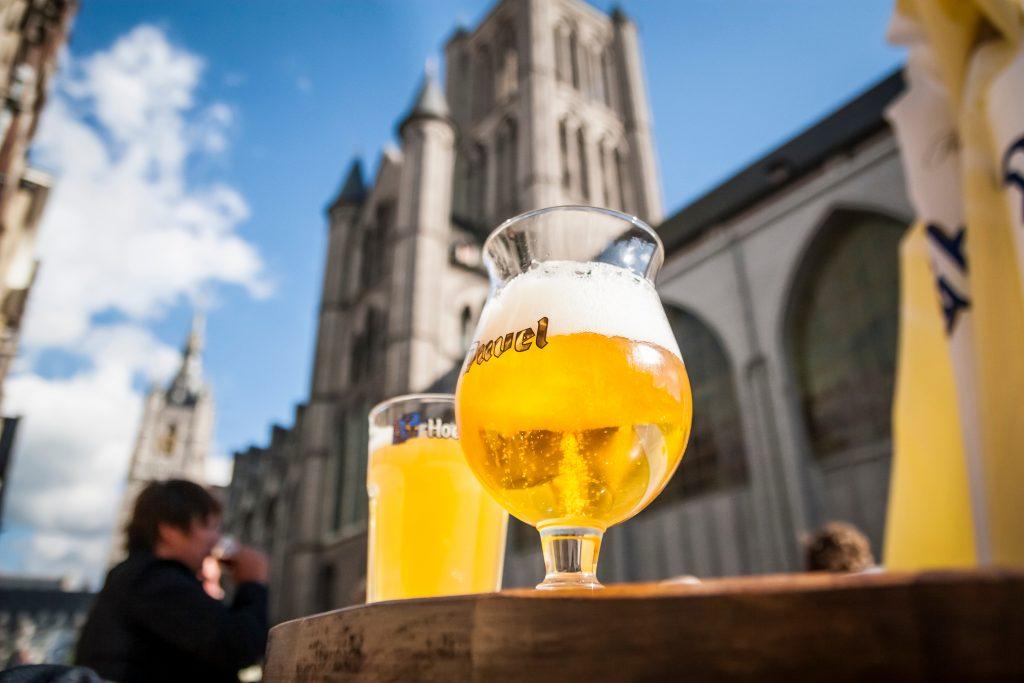 2 belgian beers on a terrace in ghent belgium