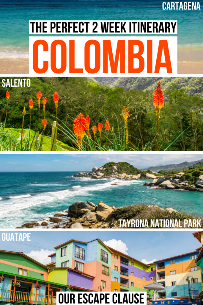 "Four photos of Colombia: Playa Blanca, Cocora Valley, Tayrona National Park, city of Guatape. Black and orange text on a white background reads ""the perfect 2 week itinerary Colombia"""