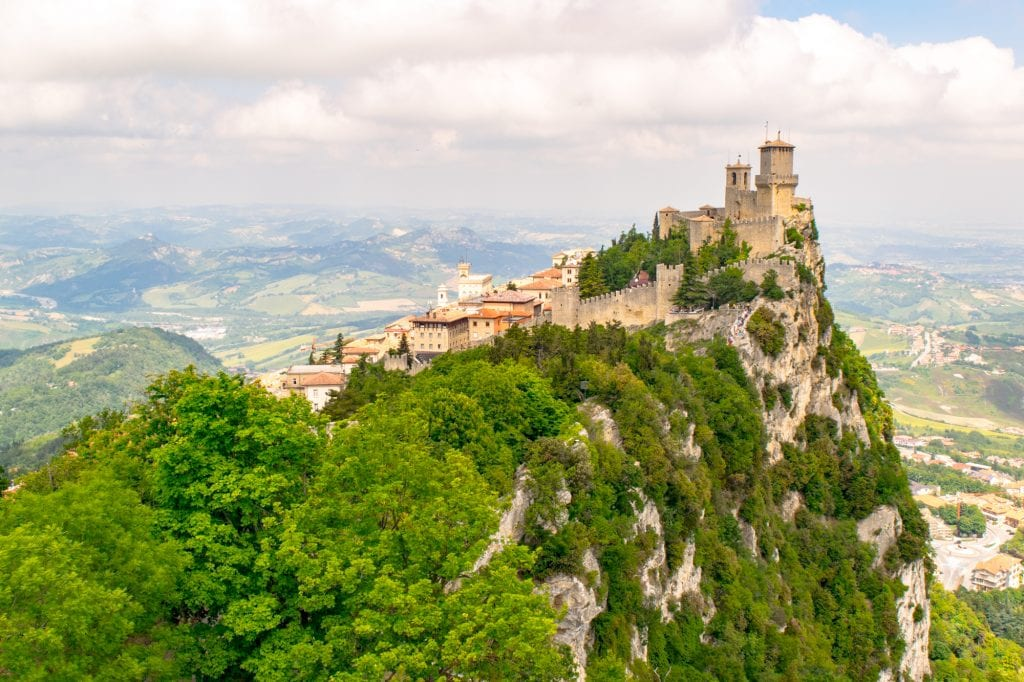 View of castle of San Marino perched on a hill