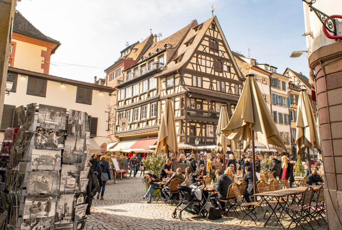 One Day in Strasbourg Itinerary: Square with Cafes
