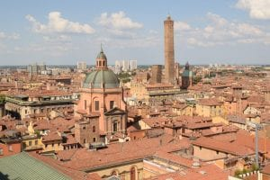 View from San Petronio's Terrace in Bologna, one of the most beautiful places in Italy