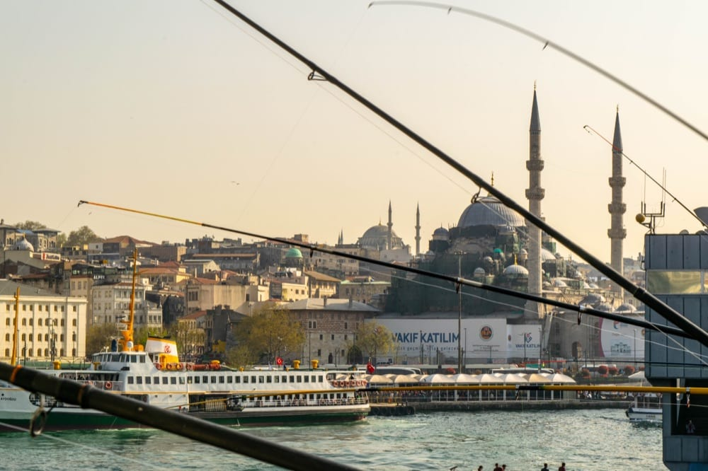 2 Days in Istanbul Itinerary: Fishing Poles on Galata Bridge
